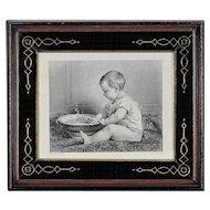 Timoleon Lobrichon - Steel Engraving - Antique Period Eastlake Victorian Frame - Baby Print