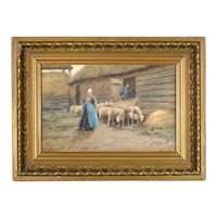 Thomas Raphael Congdon - Antique Pastel Painting in Original Antique Frame - 'Herding Sheep'