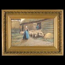 Thomas Raphael Congdon - Antique Pastel Painting in Original Antique Frame - 'Herding Sheep'
