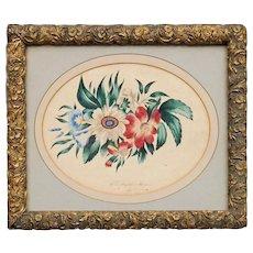 Ellen Josephine Hagen - American Schoolgirl Painting - Folk Art - 19th C Victorian - Polychrome Floral Watercolor Still Life