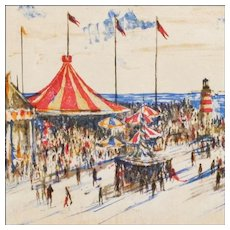 Will Barton - Lithograph of a Beach Carnival - Mid 20th C - Signed and Numbered