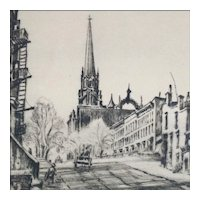 Edwin R. Wolfe - Drypoint Etching of a Street Scene with Church by Well Known Actor