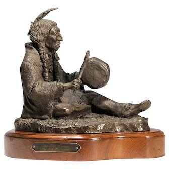 """Bill Henderson - Bronze Native American Indian Sculpture - """"The Old Songs"""""""