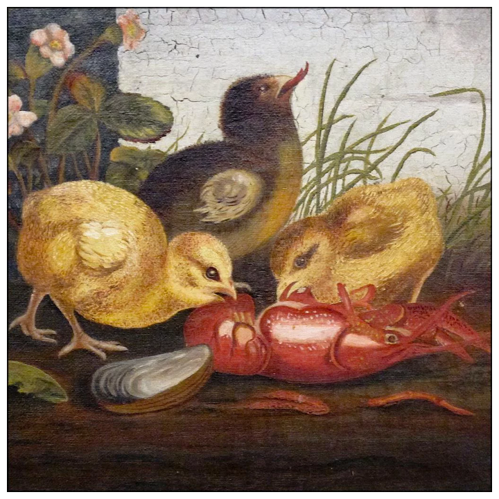 Victorian Oil on Canvas - 19th C Genre Painting in the style of Ben  Austrian and Mary Russell Smith - Folk Art - Naive - Primitive - Chicks  with