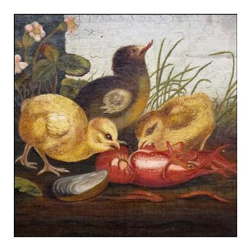 Victorian Oil on Canvas - 19th C Genre Painting in the style of Ben Austrian and Mary Russell Smith - Folk Art - Naive - Primitive - Chicks with Crayfish and Mussels