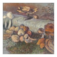 "Theodore Fried - Oil Painting on Board - Forest Scene with Mushrooms and Fungi - ""Degenerate"" Artist"