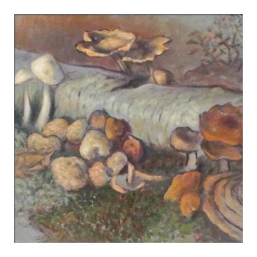 """Theodore Fried - Oil Painting on Board - Forest Scene with Mushrooms and Fungi - """"Degenerate"""" Artist"""