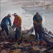 Eleanor Church - Oil Painting - Coastal Scene of Men Mending Nets in a New England Harbor