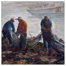 Eleanor Church - Oil Painting - Coastal Scene of Men Mending Nets in a New England Harbor