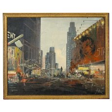 Manel Anoro Painting of Times Square - Oil on Canvas - 1969