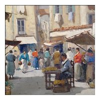 Oil Painting of a Rustic Mediterranean Market Scene - Signed Oil on Canvas