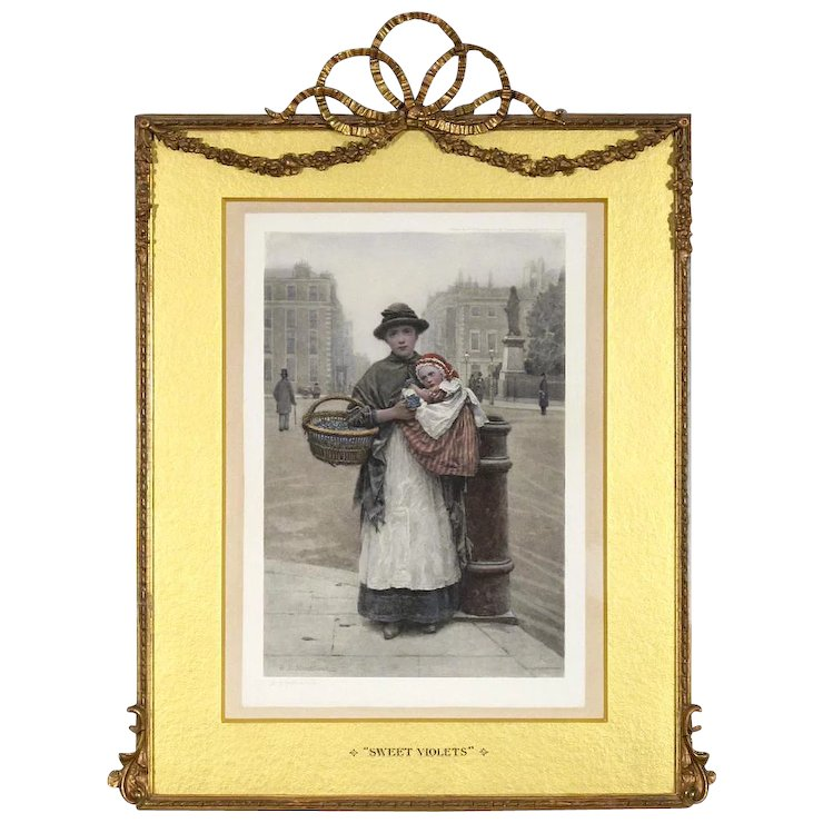 H J Johnstone Hand Colored Lithograph 19th C Elaborate Antique Frame With Barbola Swags