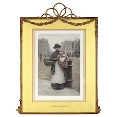 LAYAWAY - H J Johnstone - Hand Colored Lithograph - 19th C - Elaborate Antique Frame with Barbola Swags and Bow