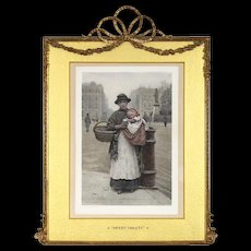 H J Johnstone - Hand Colored Lithograph - 19th C - Elaborate Antique Frame with Barbola Swags and Bow