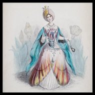 J J Grandville - Antique Steel Engraving 'Tulip' from 'Les Fleurs Animees' - Hand Colored - Elaborate Frame and Triple French Mat