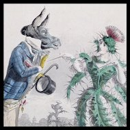 J J Grandville - Antique Steel Engraving 'Thistle' from 'Les Fleurs Animees'  - Hand Colored - Elaborate Frame and Triple French Mat