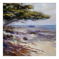 """H C Morgan - Oil on Canvas - """"Aruba"""" Beach Scene with Boat - Nautical - Seascape"""