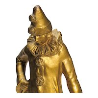 Pierrot Bronze - Small Sculpture of Classic Comedia dell'Arte Character - Clown
