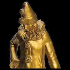 Pierrot Bronze - Small Sculpture of Classic Comedia dell'Arte Character - Clown