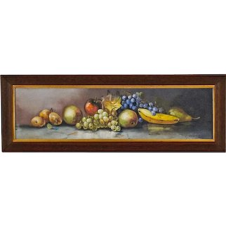 O. Arnold - Still Life Painting of Fruit in Yard Long Format - Antique American Pastel in Original Oak Frame