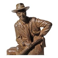 Mike McFarland - Bronze Sculpture of Del E Webb Holding the Architectural Plans for Sun City, Arizona by Listed Artist
