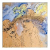 Mixed Media Painting of a Couple - Pen and Ink with Watercolor and Goauche