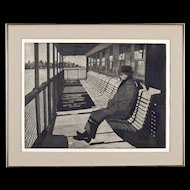 Fran d'Atria Romano - Etching of the 69th Street Ferry - New York City Scape - Maritime - Nautical