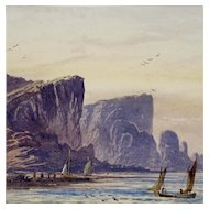 L Lewis - Antique Coastal Watercolor Painting with Mountains, Fishermen, and Boats - 19th C Seascape - Nautical