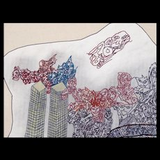 Rodger Fisher - Outsider Art Drawing of World Trade Center on 9-11 - Folk Art