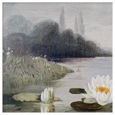 Antique American Victorian Painting - Oil on Canvas of Water Lilies - 19th C - Original Antique Frame