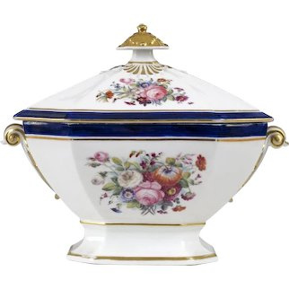19th C Hand Painted Porcelain Tureen or Covered Vegetable Dish - Gilt and Flower Decoration with Blue Bands