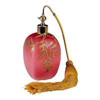 Antique Perfume Atomizer - 19th C Cranberry Pink Bohemian Glass w/ Hand Painted Gilt Decoration