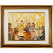 20th C Impressionistic Cafe Scene - Signed Oil on Canvas