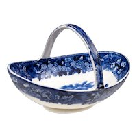 "Antique Wedgwood Basket with Handle - ""Ferrara"" Pattern Transferware - Blue and White - Transfer Ware"