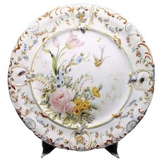 """Italian Faience Charger w/ Insects - Antique - 14.25"""" - Hand Painted - Tin Glazed - Plate - Platter"""