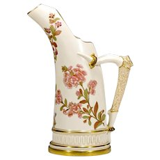 Antique Royal Worcester Vase - Antler Handle - Large