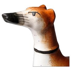 Staffordshire Whippet Inkwell - Pen Holder - 19th C - Whippet or Greyhound - Dog Ink Well