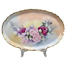 Antique Dresser Tray with Hand Painted Roses - 19th C Porcelain