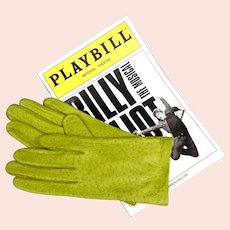 Peccary Leather Gloves - Chartreuse Green Pigskin by Van Raalte with Tags - NOS - Women's