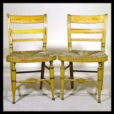 Pair of 'American Fancy' Painted Chairs c. 1800 - 1820 with Acorn Decoration - American Fancy - Americana - Rush Seats