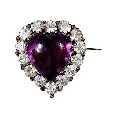 Heart of Purple Secrets - Antique Paste Brooch