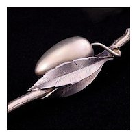 """Gorham Aesthetic Movement """"Olive Spoon and Fork"""" - 1880's - Gilded Sterling Silver - Gilt - American Flatware"""