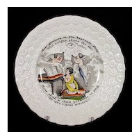 19th C Child's Transferware Plate w/ Angels - Transfer Ware - Staffordshire - Pearl Ware - Pearlware - Religious