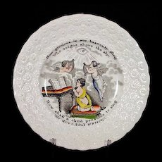 19th C Child's Transferware Plate w/ Angels - Transfer Ware - Staffordshire - Pearl Ware - Pearlware - Religious