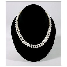 Double Strand Japanese Akoya Pearl Necklace - 14K White Gold Clasp - Fine Cultured Sea Pearls