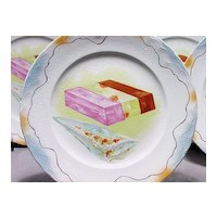 Vintage Ice Cream Set - Pottery - 2 Platters and 10 Plates