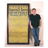Huge 1876 Broadside - A Vision of War - Ingersoll's Indianapolis Speech - Americana - Civil War - Historical - Political