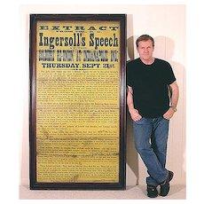 Huge 1876 Broadside - A Vision of War - Ingersoll's Indianapolis Speech - Americana - Civil War - Historical - Political