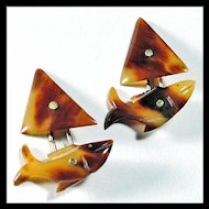 Fish Shaped Cufflinks Hand Carved of Horn - Mens' or Women's Jewelry - Unisex - Cuff Links