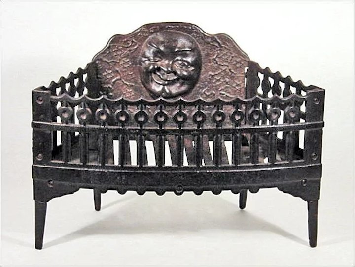 Title: Antique Cast Iron Fireplace Grate / Insert for Wood or Coal w/ Winking Moon Face & Six Pointed Stars - Americana - Folk Art - Fire Place